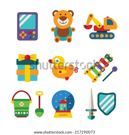 Set of vector colorful kids toys in flat style like portable game teddy bear excavator duck gift bucket snow globe sword shield and xylophone
