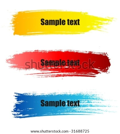 Set of vector colorful paint grunge banners