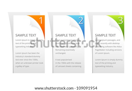 Set of Vector Colorful Sample Option Stickers. - stock vector