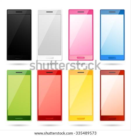 Set Vector Colorful Smartphones Stock Vector 335489573 ...