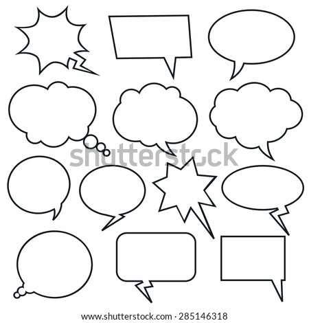 Set of vector comic speech bubbles.