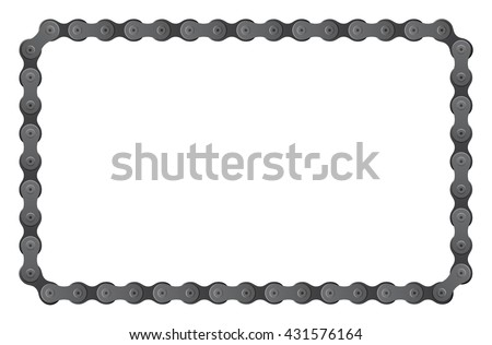 set of vector connected bicycle chain pieces composite to angular frame - stock vector
