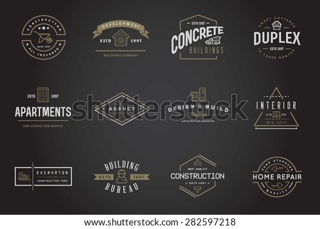 Set of Vector Construction Building Icons Home and Repair can be used as Logo or Icon in premium quality  - stock vector