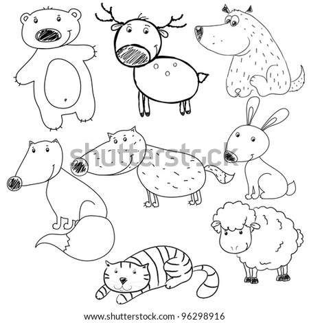 set of vector contours of toy  toy rabbit, deer, bear, wolf, cat, dog, fox, sheep, Coloring - stock vector