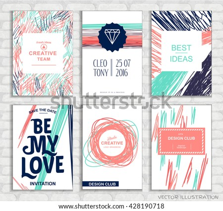Set of vector creative greeting cards template with hand drawn elements. Retro style background. Elegant vintage design for posters, birthday, banner, party, wedding.  - stock vector