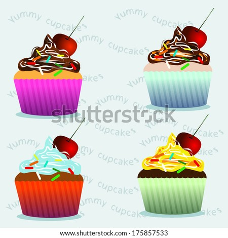 Set of vector cupcakes  with cherry on the lilac background