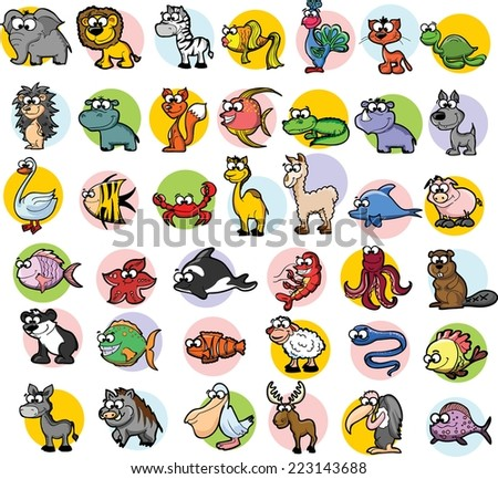 Set of vector cute cartoon animals  - stock vector
