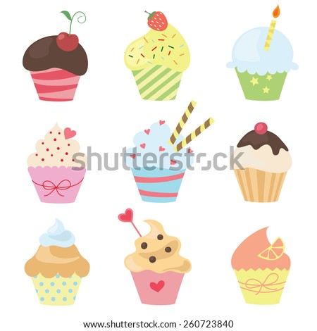 set of vector cute cupcakes - stock vector