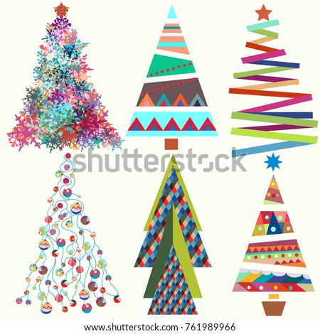Set Vector Cute Funky Christmas Trees Stock Vector 761989966 ...