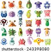 Set of vector cute monsters and robots - stock vector