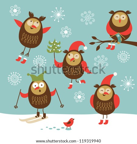 Set of vector cute owls in winter - stock vector