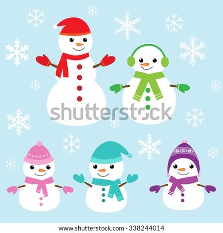 Set of vector cute snowmen and snowflakes - stock vector