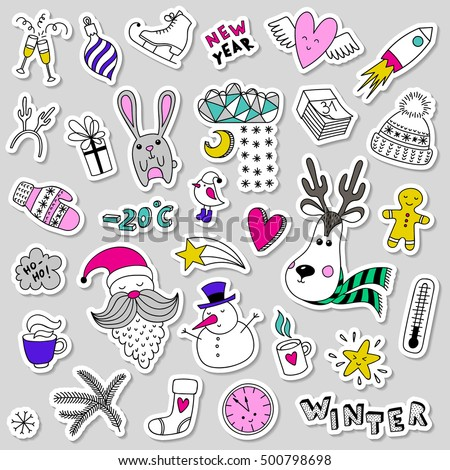 Set of vector cute winter stickers, pins, patches. Doodle icons items in cartoon hand drawn style. Funny children drawing. Happy new year