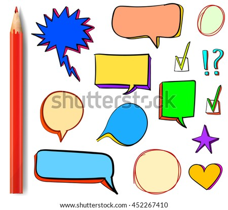 Set of VECTOR 3d hand drawn icons: check mark, star, heart, speech bubbles, multicolor design elements with colored red pencil.