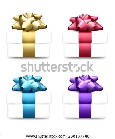 Set of vector 3d realistic gift boxes with bows.  - stock vector
