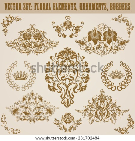 Set of vector damask ornaments. Floral elements, borders, crowns, laurel wreaths for design. Page decoration. - stock vector