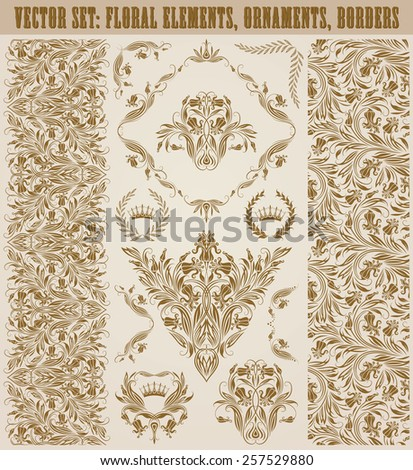 Set of vector damask ornaments. Floral elements, seamless patterns, borders, arabesque, crowns, laurel wreaths for design. Page decoration in vintage style. - stock vector