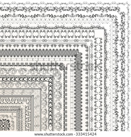 Set of vector decorative borders from ornament for design - stock vector