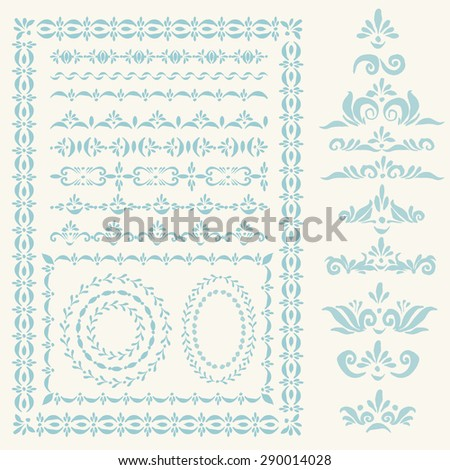 Set of vector decorative elements and pattern brushes for illustartor. Round and square frames, branches, wreaths and other shapes with hand drawn ornamental strokes, headers and corners.  - stock vector