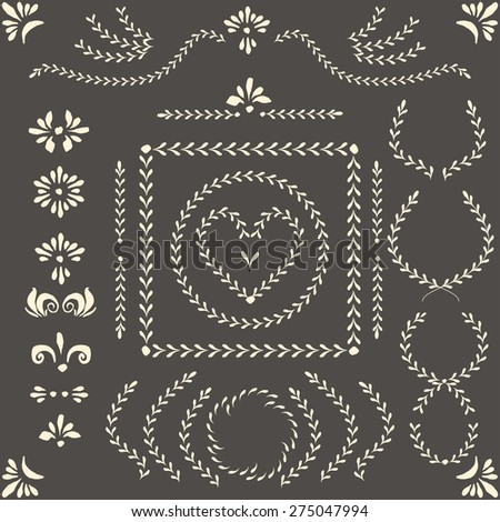 Set of vector decorative elements and pattern brushes for illustrator. Round and square frames, branches, wreaths and other shapes with hand drawn ornamental strokes, headers and corners.  - stock vector