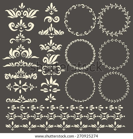 Set of vector decorative elements and pattern brushes for illustrator. Round frames with hand drawn ornamental strokes, headers and corners. Cute wreaths and stripe ornaments. - stock vector