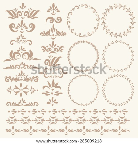 Set of vector decorative elements and pattern brushes for illustrator. Round frames with hand drawn ornamental strokes, headers and corners. Elegant beige wreaths and stripe ornaments. - stock vector