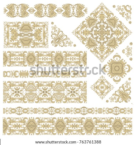 Set of vector decorative elements - corner ornaments, ornamental borders on white background