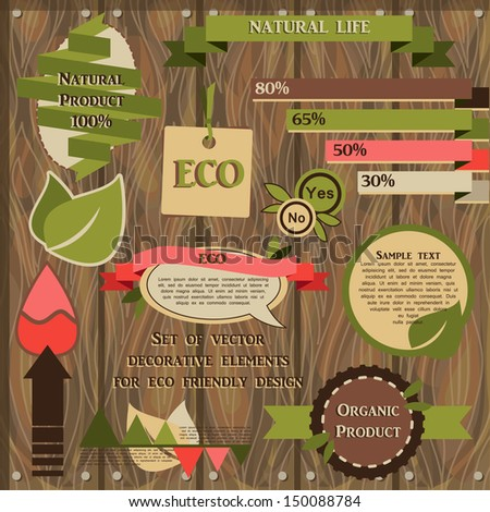 set of vector decorative elements for eco friendly design - stock vector