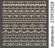 Set of vector decorative elements. Illustrator pattern brushes. Stripe seamless ornamental borders. - stock vector