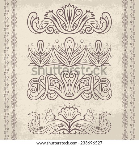 Set of vector decorative ornaments. Floral and abstract design pattern elements and symbols for posters, postcards, page decoration and typography