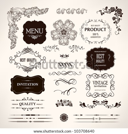 Vintage embellishments stock images royalty free images vectors set of vector design elements and calligraphic page decoration stopboris Image collections