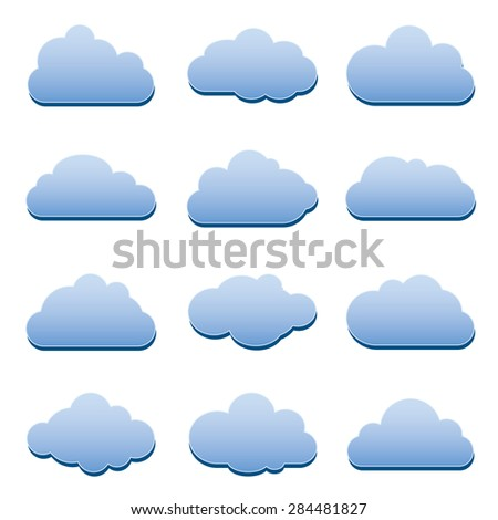 Set of Vector Design Elements. Clouds.