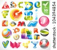 Set of vector design elements 17. 3D Alphabet icons. - stock vector