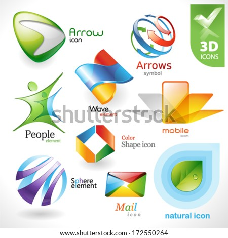 Set of vector design elements 21. 3D icons. - stock vector