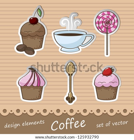 set of vector design elements for coffee and cake - stock vector