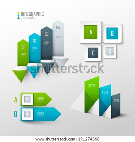 Set of vector design elements for infographic or presentation - stock vector