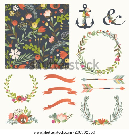 Set of vector design elements, including seamless pattern, floral vignettes, wreaths and ribbons. Hand drawn floral collection. - stock vector