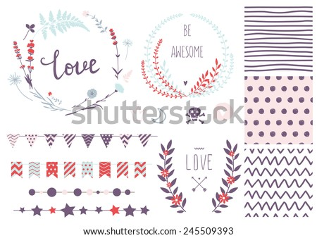 Set of vector design elements, including seamless patterns, flags, garlands, borders, wreaths and ribbons. Hand drawn love collection. Valentine's day kit. Set for wedding design. Save the date.