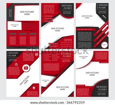red brochure template - set vector design black red flyers stock vector 366792359