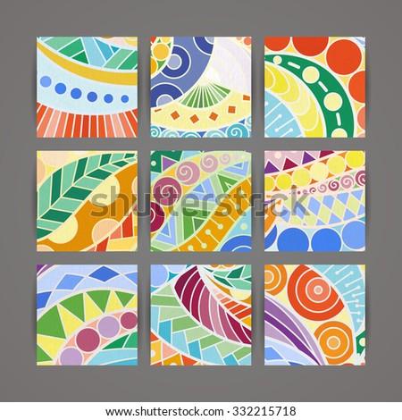 Set of vector design templates. Brochures in random colorful style. Vintage backgrounds. Zentangle designs. - stock vector