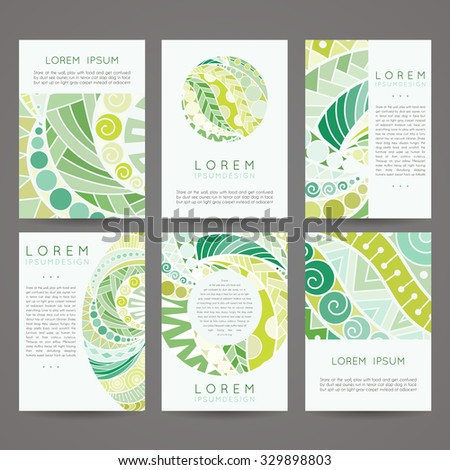 Set of vector design templates. Brochures in random colorful style. Vintage frames and backgrounds. Zentangle designs.