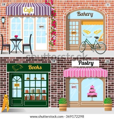 Set of vector detailed design bakery, cafe, bookshop and pastry shop. Building facade of brick. Vector illustration eps 10. - stock vector
