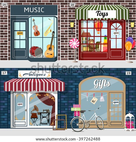 Set of vector detailed design music, toys, antiques and gifts shop. Building facade of brick. Vector illustration eps 10.