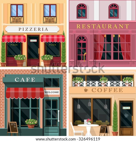 Set Of Vector Detailed Flat Design Restaurants And Cafes Facade Icons. Cool  Graphic Exterior For