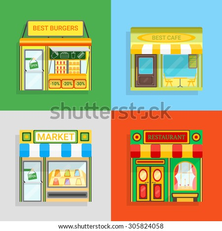 Set of vector detailed flat design restaurants facade icons. Burgers, Cafe, Market and restaurant fronts. For restaurant business and graphic design.