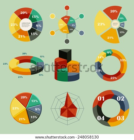 Set of vector diagrams - stock vector