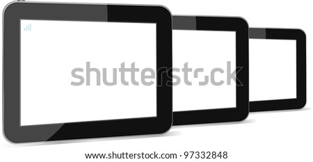 Set of vector digital tablets with blank screen isolated on white