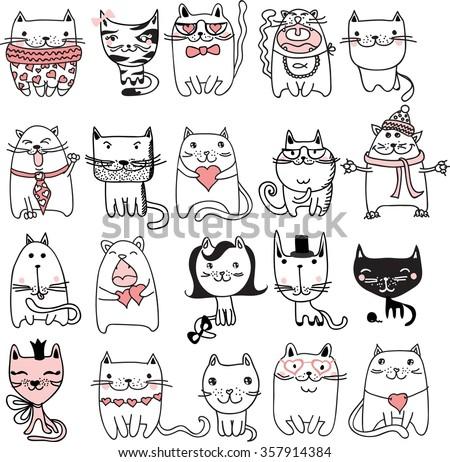 Set of 20 Vector doodle cute cats avatars - stock vector