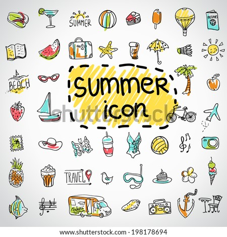 Set of  vector doodle summer icons - stock vector