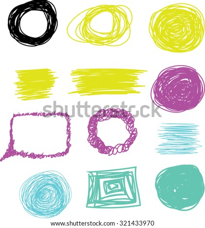 Set of vector doodle with crayons.  - stock vector
